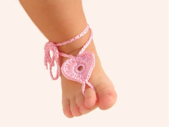 2 pairs Baby Heart Barefoot sandals Kids leg accessory Foot decoration Baby shoes Pink  Red Barefoot Sandals