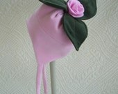 Child's pink micro-fleece tie hat with your choice of silly top by STRINGBEANIES