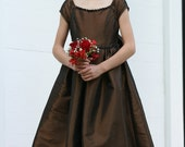 ON SALE!!! - Fancy Girl's Christmas Dress -  Junior Bridesmaid/Flowergirl - Brown Special Occassion Tafetta Dress - Size 8