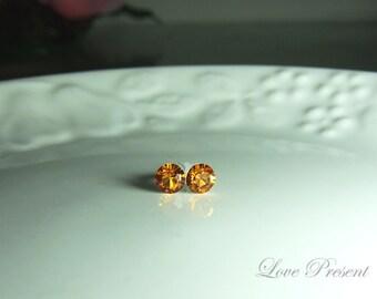 Swarovski Crystal Petite Stud Earrings Post - Minimal Simple Jewelry - Color Topaz - Hypoallergenic or Metal post - Choose your post