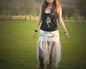 Festival clothing; Angel skirt, white and gold tattered ruffles Free Size fairy costume, Oshun clothing