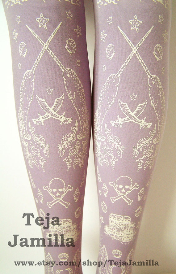 Pirate Printed Tights Pastel Narwhals Small Medium White on Lavender Lilac Purple