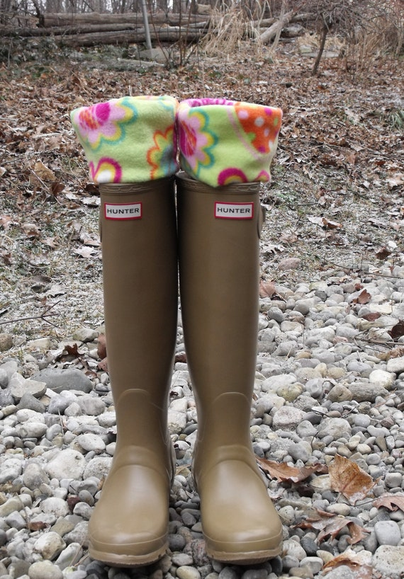 SALE- Fleece Rain BOOT LINERS, Cool Lime Green Cuff With Strawberries & Flowers, Tan Sock, Walks, Rain Showers, Fashion