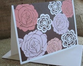 Rose note cards - folded blank 8 pack