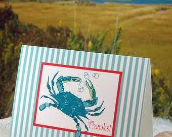Blue crab with stripes - folded blank thank you note cards - 10 pack