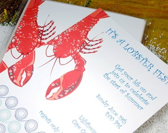 Lobster with modern wave - imprintable invitation - 10 pack
