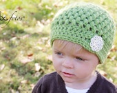 Light Green Toddler Girl Hat with Button for Fall and Winter -- Ready to Ship -- Sale Item