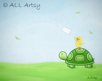 Pen Pal - 8x10 Matted Canvas Art Print - Turtle and Duck Painting Print - childrens wall art