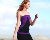 Organic Tube Top - Geometric Pattern - Organic Clothing - Purple Black - Eco Friendly