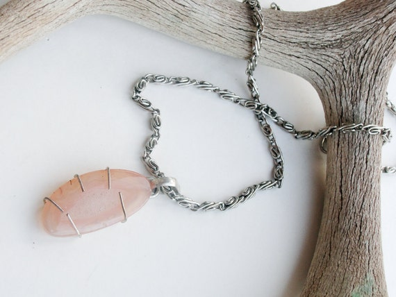 CLEARANCE SALE  Sunset Pink Agate Wire Wrapped Necklace