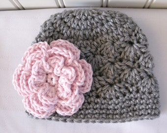 Crochet Girls Hat - Baby Hat - Toddler Hat - Newborn Hat - Winter Hat - Light Grey (Gray) Pink Flower - in sizes Newborn to 3 Years