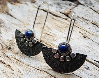 Sterling silver earrings with Lapis Lazuli - Silver earrings - Sterling silver jewellery - Handcrafted jewelry