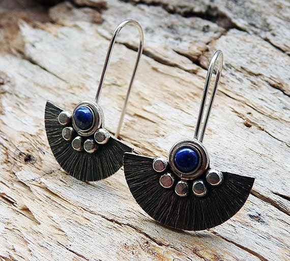 Sterling silver earrings with lapis lazuli. Silver earrings.  Sterling silver jewellery. Handcrafted. Drop earrings. MADE TO ORDER.