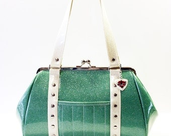 Aqua Glitter Vinyl Purse with Your Choice of Trim - MADE TO ORDER