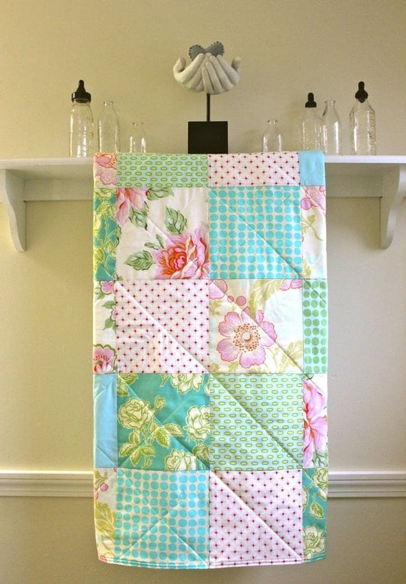 Baby Quilt Girl -  Pastel Roses  - Flannel or Minky Back - Crib Quilt in Pink, Green, Aqua, and Ivory