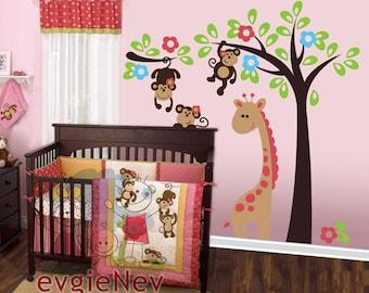 Monkeys Wall Stickers - Giraffe with Monkeys Wall Decals - PLSF020L