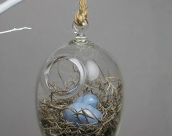 hand blown glass bird nest terrarium with two glass eggs