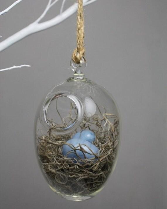 hand blown glass bird nest terrarium with glass eggs