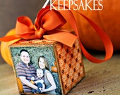 No.6 Fall Damask Personalized Photo Block Ornament Keepsake