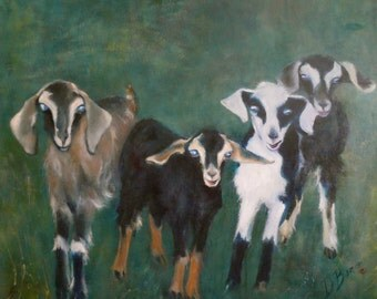 Playful Goats (36X36) Extra Large Original Oil Painting on Canvas by Diane Borg