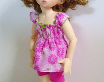 LTF/LittleFee/YOSD Pink & White Daisy Ruffle Sleeve Top and Shorts