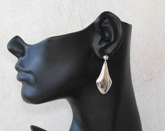 Plain Minimalist Faceted Sterling Silver Drop Earrings Handmade *FREE SHIPPING!*