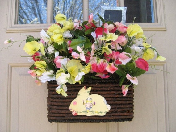 Spring Wreath, Spring Door Decor, Pink Yellow Babys Room Decor, Welcome Baby Gift, Easter Decoration, Easter Bunny Decor, Easter Wreath