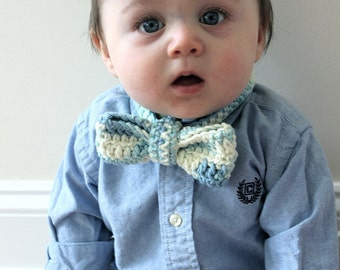 Crocheted Baby Bow Tie - 100% Cotton - Blue/Yellow Variegated -  Sizes Newborn to 12 Years Available