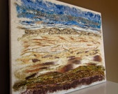 fiber art wall hanging mixed media textile textured art - modern contemporary needle felted - 11 X 14  earth and sky - abstract original