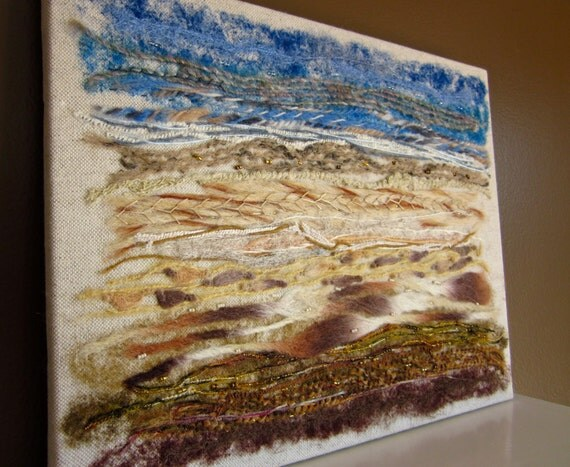 Fiber Art Wall Hanging Mixed Media Textile Textured Art