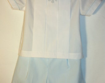 Boys Pleated Front Shirt and Short Set