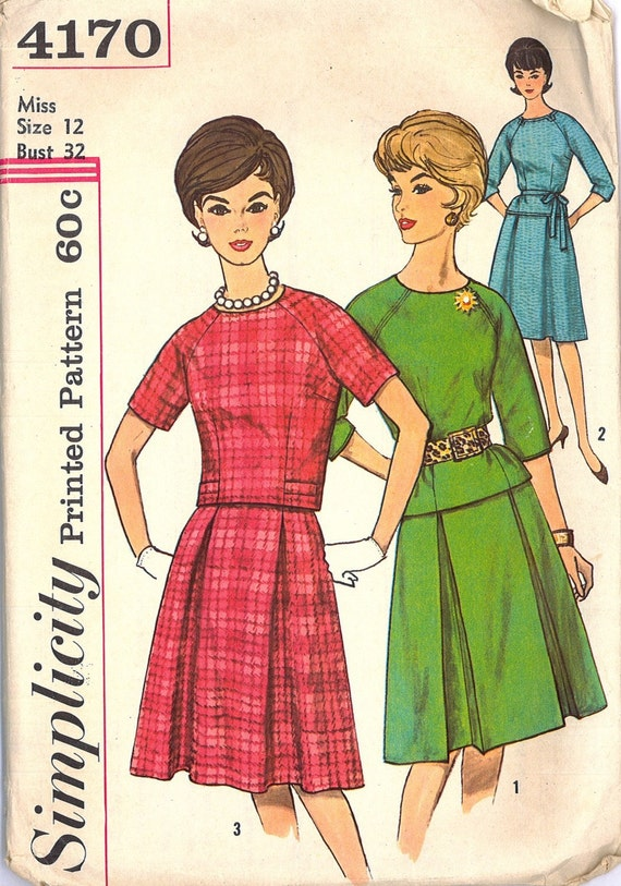 1960s Mad Men Two Piece Dress in Two Lengths Vintage Sewing Pattern Simplicity 4170 Bust 32
