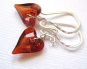 Red heart earrings,  Valentines day gift, Swarovski crystal earrings, Sterling silver jewelry, Girlfriend gift, Anniversary earrings