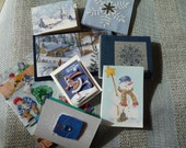 18 Cute Handmade Holiday Gift Card Tags for Gifts or Christmas Presents - blue silver white - red green - xmas - snowman - sleigh - recycled