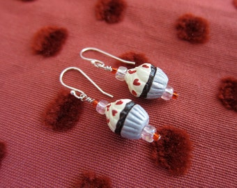 Sweet Chocolate Cupcake Earrings with Vanilla Frosting and Red Hearts - Sterling Silver earwires -  Children's Dangle Earrings Kids