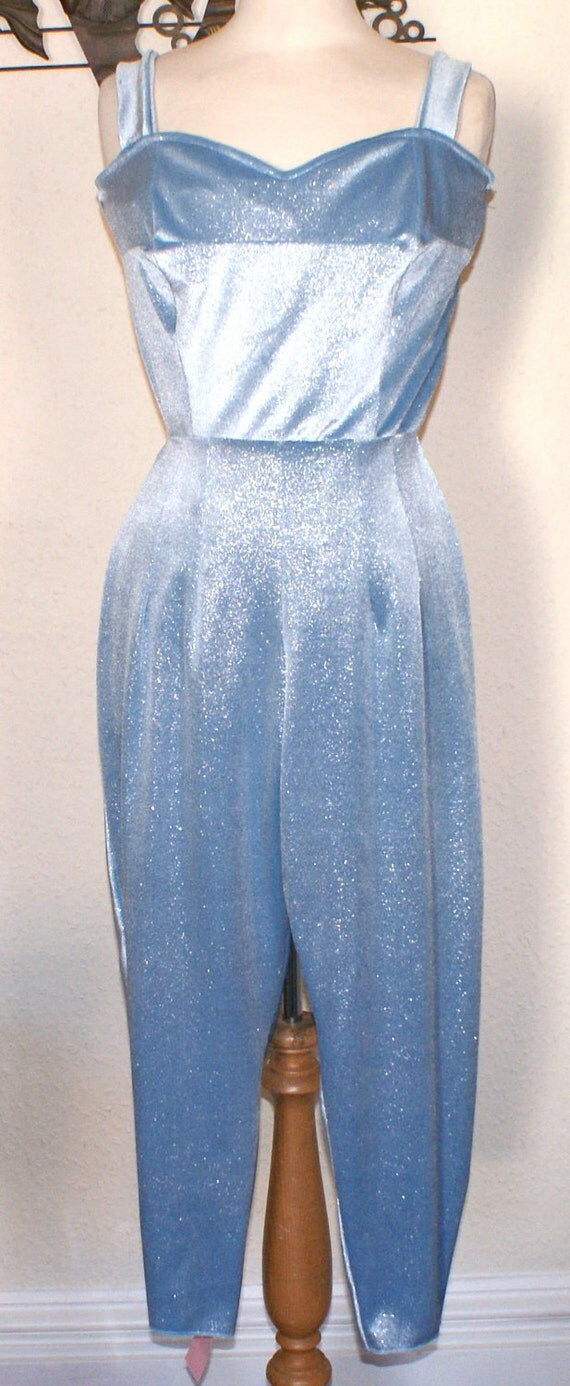 Now reduced Repro vintage 1950s inspired baby blue glitter velour jumpsuit Medium Large Rockabilly pinup Viva Rave Burlesque Bombshell