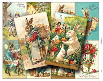 VINTAGE RABBIT Digital Collage Sheet Instant Download for Paper Crafts Original Whimsical Altered Art by GalleryCat CS134