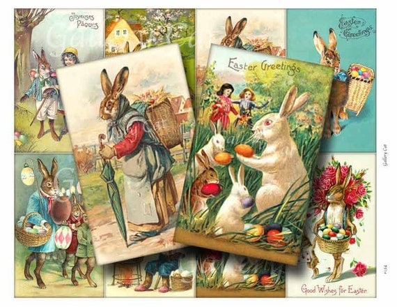 VINTAGE RABBIT Digital Collage Sheet Instant Download for Paper Crafts Original Whimsical Altered Art by GalleryCat CS134