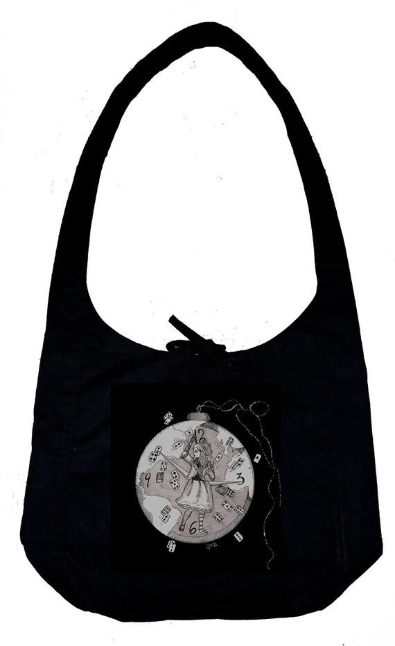 Alice in Wonderland Black Hobo bag - Tim Burton Inspired Mad World Alice bag, Alice, proceeds to Alzheimer's Association