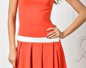 summer dress. orange. short skirt with pleats.