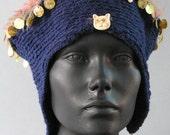 Deep Blue Crochet Hat With a Little Cat Ceramic Button...