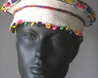 Colorful White Crochet Cap with Wooden Beads...