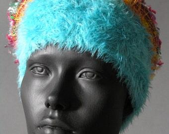 Fluffy Warm Blue Crochet Hat...