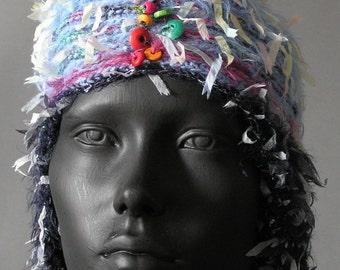 Funky, Fuzzy, Fantasy Blue & Black Crochet Hat...