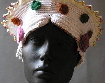 White Cotton Fibers Crochet Hat with Beautiful Hand-Made Felt Flowers...