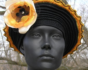 Black & Ocre Crochet Hat with a Beautiful Hand Made Organza Flower...