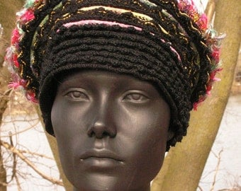 Black Crochet Hat with Earthy Colours...