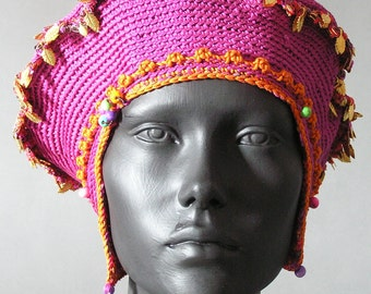 Pink Mega Crochet Hat With Spikes & Metal Leaf Findings...