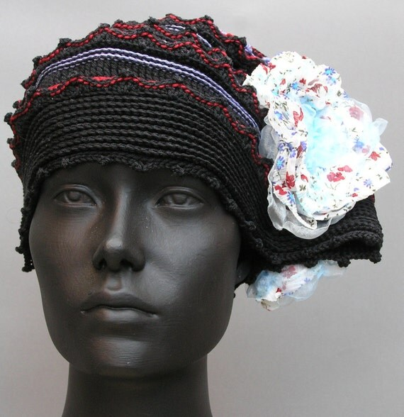 Black Blue Red Beehive Crochet Hat with Three Exquisite Organza Flowers...