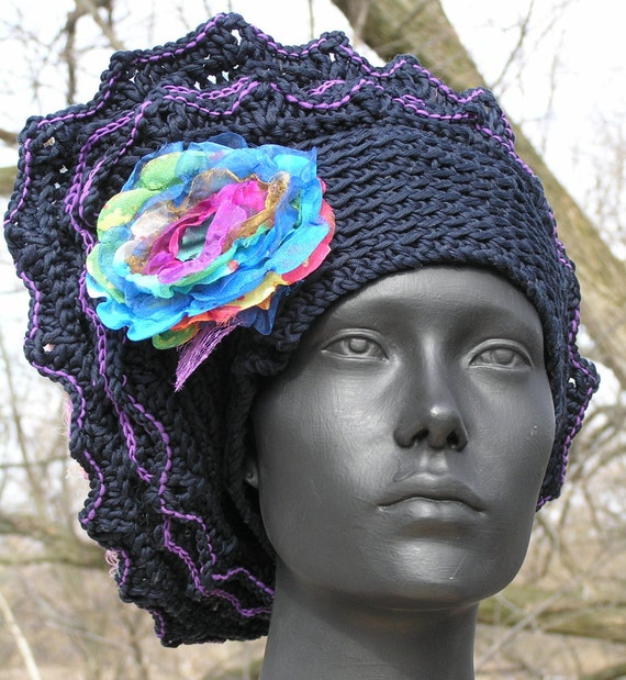 Mega Black Crochet Hat with Pinks and Purples Fuzzy Top with a Beautiful Organza Flower Pin...